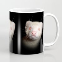 ferret Mugs featuring Albino Ferret black background by Fennic
