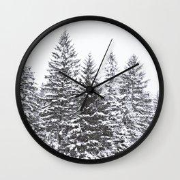 BLACK WINTER TREES Wall Clock
