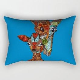 giraffe love blue Rectangular Pillow