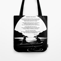 sylvia plath Tote Bags featuring Crossing the Water (poem) by Sylvia Plath by People Matter Creative