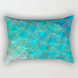 Sea Ocean Waves effect- Gold and Aqua Scales Pattern Rectangular Pillow