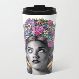 Flowered Prongs Metal Travel Mug
