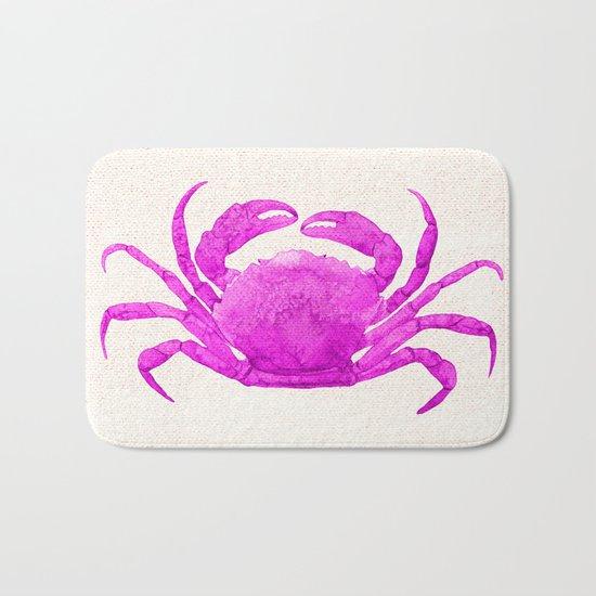 Nautical Pink Crab Linen Bath Mat