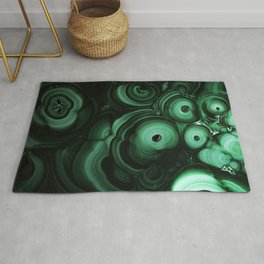 Curls and patterns of malachite Rug