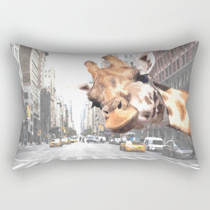 Selfie Giraffe in New York Rectangular Pillow