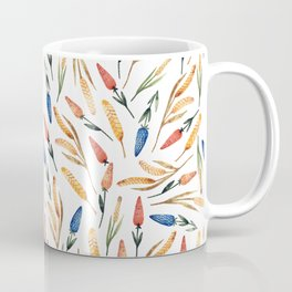 Watercolor seamless pattern with wheat sprouts and colored flowers Coffee Mug