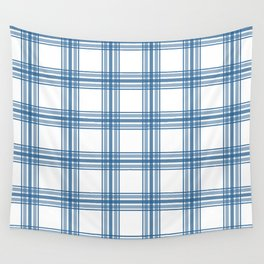 Farmhouse Plaid in Blue on White Wall Tapestry