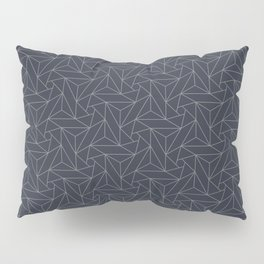 Gray & Dark Blue Abstract Triangle Geometric Mosaic Shape Pattern Pairs To 2020 Color of the Year Pillow Sham