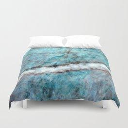 Pastel Aqua Blue Marble With White-Cream Streak Duvet Cover
