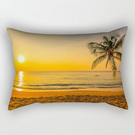 Beautiful Sunset over the Beach Rectangular Pillow