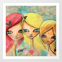 sisters Art Prints featuring Sisters by SannArt