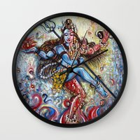 shiva Wall Clocks featuring Shiva Shakti by Harsh Malik