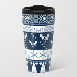 Retro . Christmas pattern . Blue background . Travel Mug