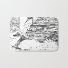 Vintage Cape Cod and NYC Steamboat Route Map BW Bath Mat