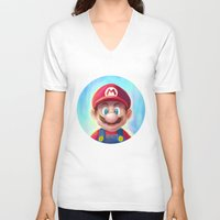 mario kart V-neck T-shirts featuring Mario Portrait by Laurence Andrew Page Illustrator