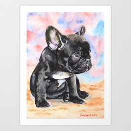 French Bulldog Puppy Watercolor | Pillow Cover | Dogs | Home Decor | Custom Dog Pillow | Dog Mom Art Print