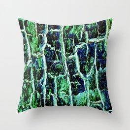 Sparkling Emerald Tree Bark Throw Pillow