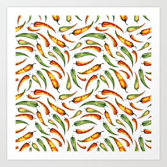 1f5bb9a3697f Watercolor seamless hand drawn pattern with red hot chilli peppers. Art  Print