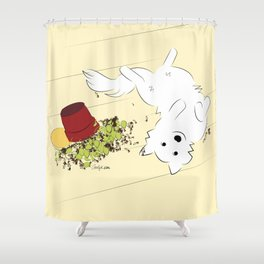 Great Pyrenees Goes Spread Eagle Shower Curtain