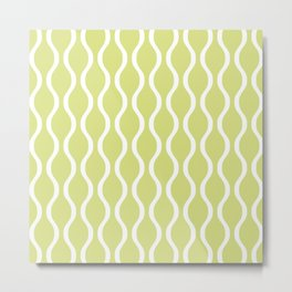 Classic Retro Ogee Pattern 731 Chartreuse Metal Print