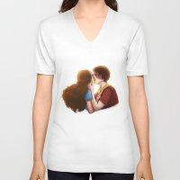 zuko V-neck T-shirts featuring Zutara cute kiss by Amourinette