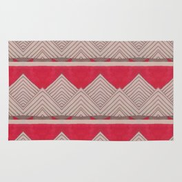 Red and Grey Deco Geometric print Rug