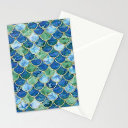 Mermaid Scales Neck Gator Green Blue Mermaid Scales Stationery Cards