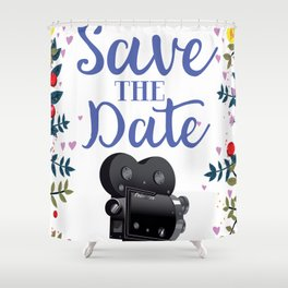Save the Date vintage movie camera Shower Curtain