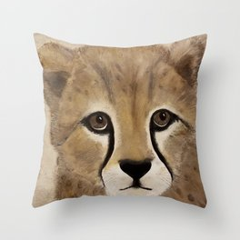 Cheetah Cub - Original Textured Painting Throw Pillow