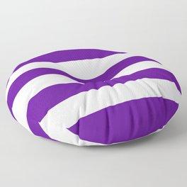 Metallic violet - solid color - white stripes pattern Floor Pillow