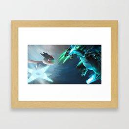 Ash-Greninja VS Mega Charizard X Pokémon Framed Art Print