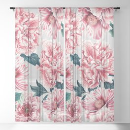 Pattern pink vintage peonies Sheer Curtain