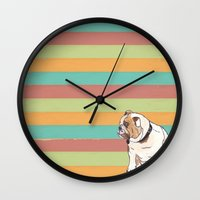 english bulldog Wall Clocks featuring Bulldog by Tammy Kushnir