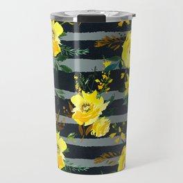 Yellow black gray watercolor modern floral stripes Travel Mug