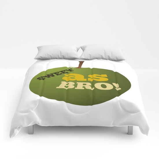 Green apple SWEET AS BRO Comforters