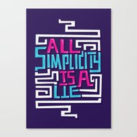 risa rodil Canvas Prints featuring All Simplicity is a Lie by Risa Rodil
