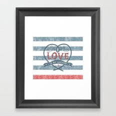 Maritime Design- Love is my anchor on navy blue and red striped background Framed Art Print