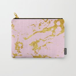 Luxury and glamorous gold glitter on lovely girly pink marble Carry-All Pouch