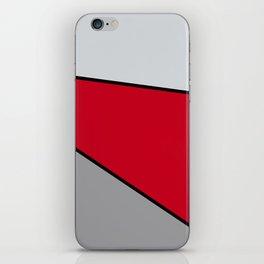 Diagonal Color Blocks in Red and Grays iPhone Skin