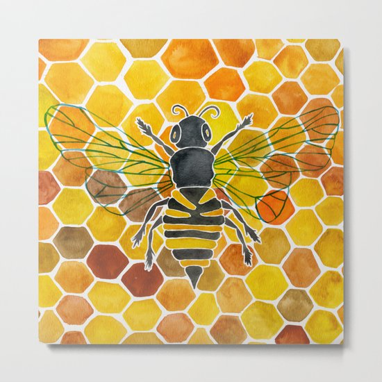 Bee & Honeycomb Metal Print