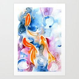 Watercolor Goldfish Art Print