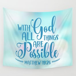 God All Things Possible Bible Quote Wall Tapestry