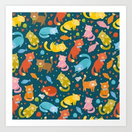 Colorful Cat and Cats pattern Art Print