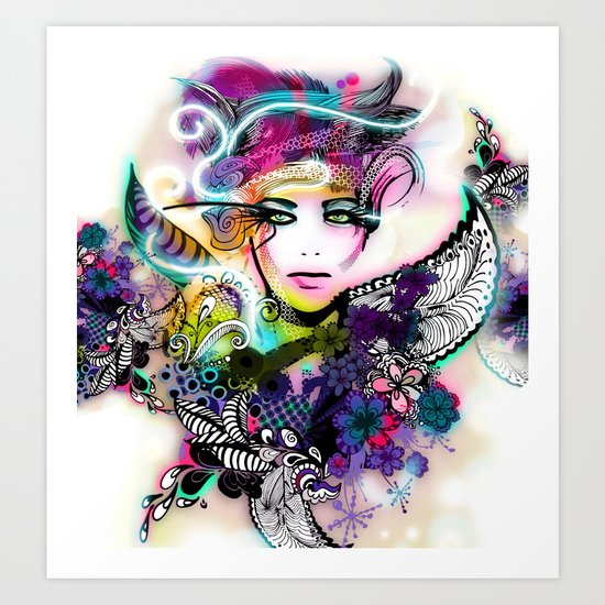 colorful floral illustration Art Print