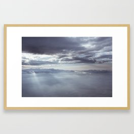 Clouds and sunlight above the sky seen from airplane window Framed Art Print