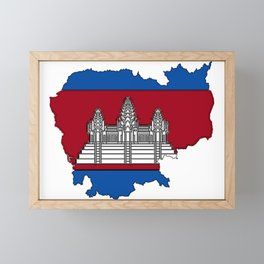 Cambodia Map with Cambodian Flag Framed Mini Art Print