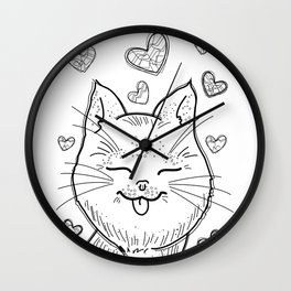 Kitty in Love (B&W) Wall Clock