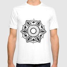 Black and White Pattern Flower Design Mens Fitted Tee White MEDIUM