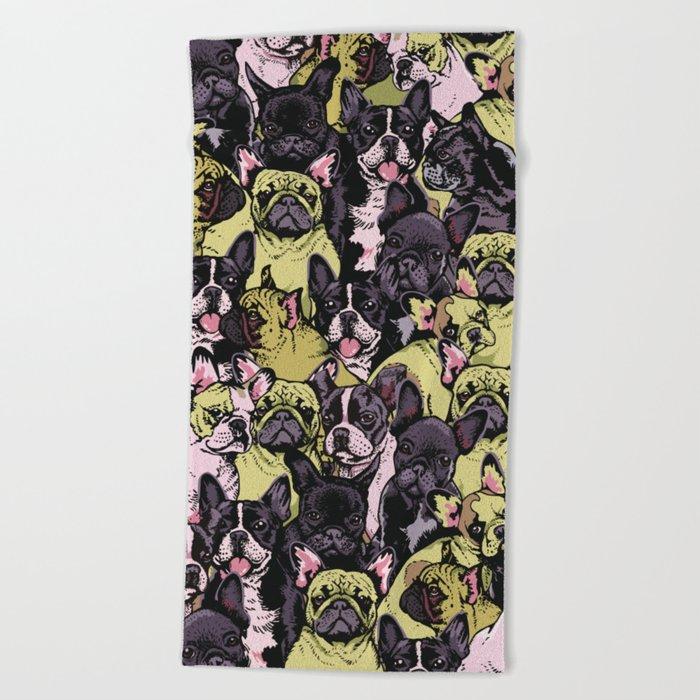 Social French Bulldog Beach Towel