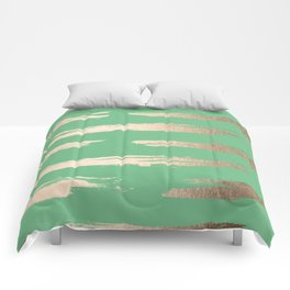Abstract Paint Stripes Gold Tropical Green Comforters